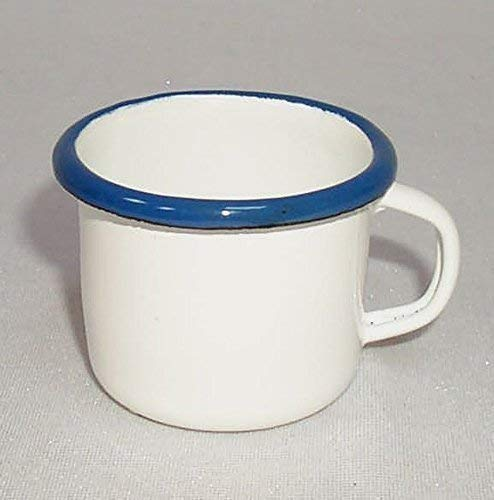 Moccatasse linoows Espressotasse Emaille wei/ß- blau 5 cm Kleiner Schnapsbecher