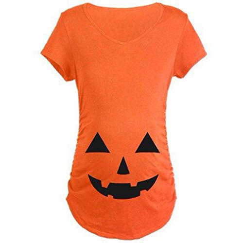 [Iumer Halloween Tops Easy Halloween Costume Fun Tee Pregnant Pumpkin Carved Face Printed Maternity Clothes T-shirt Pregnancy Pumpkin Color] (Pregnant Halloween Costumes)