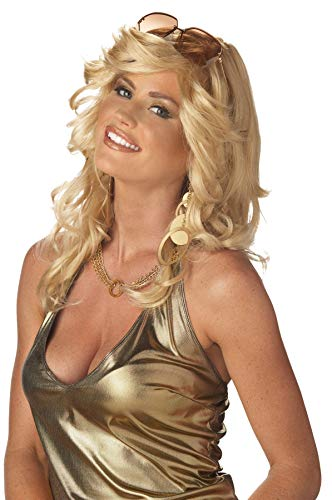 UHC Mama Discorama Farrah Fawcett Feathered Angels 70's Disco Costume Blonde Wig -