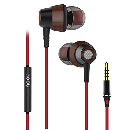 Earphones With Microphone E626 Premium Earbuds Stereo Headphones Volume Control and Noise Isolating, Made for iPhone, iPod, iPad, Samsung Galaxy, LG, HTC and Many more Red Black