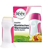 Veet EasyWax elektrisch warm wax apparaat met roll-on systeem - voor een gladde huid tot wel 28 dagen - 1 x apparaat met wax cartridge, fleece strips & doekjes