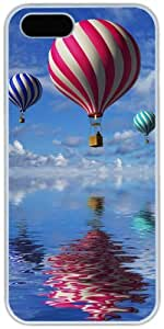iPhone 5 5S Cases Hard Shell White Cover Skin Cases, iPhone 5 5S Case Air Balloons Water Surface