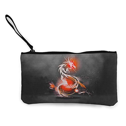 Oomato Canvas Coin Purse Burning Dragon Cosmetic Makeup Storage Wallet Clutch Purse Pencil Bag ()