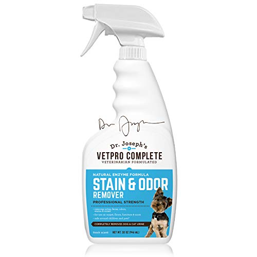 VetPro Complete Pet Stain & Odor Remover - Enzyme Powered Odor & Stain Eliminator for Dog and Cat Urine, Feces, Vomit, and Drool, Professional Strength 32 oz.
