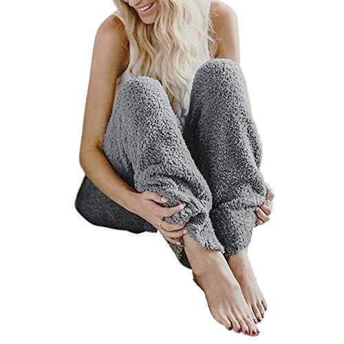 Trousers Pajama (GUOLEZEEV Fashion Women Winter Fur Warm Fleece Home Lounge Pants Pyjama Trousers 4XL)