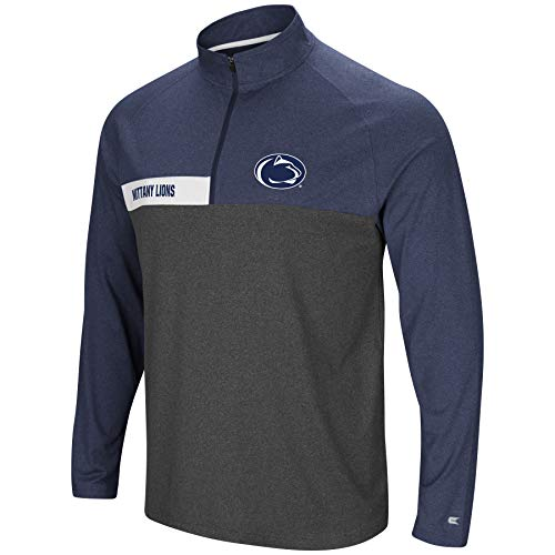 Colosseum Men's NCAA-No Mercy-1/4 Zip Pullover Windshirt-Penn State Nittany Lions-Heather Dark Blue-XXL
