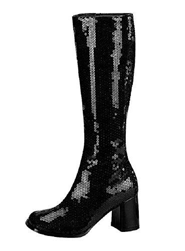 Spectacular-300SQ - Original Bordello Burlesque Kniestiefel mit Pailletten in Schwarz und komfortablem Block-Absatz