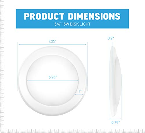 """Parmida (12 Pack) 5/6"""" Dimmable LED Disk Light Flush Mount Recessed Retrofit Ceiling Lights, 15W (120W Replacement), 5000K (Day Light), Energy Star, Installs into Junction Box Or Recessed Can, 1050lm by Parmida LED Technologies (Image #3)"""