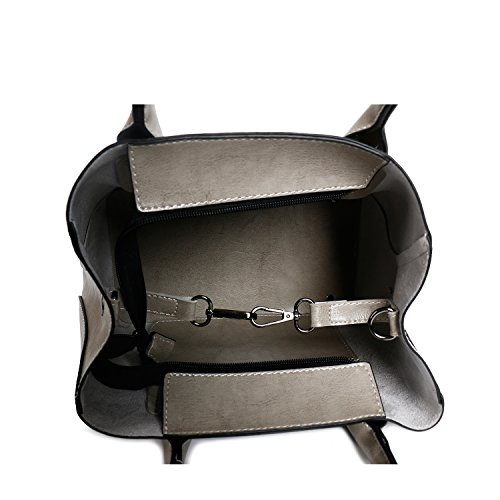 Card Handbags Holder Bag Bag b Ephraim Purse 4pcs Ladies Grey Leather Fashion Handbags Tote for Shoulder zxFdqwxB