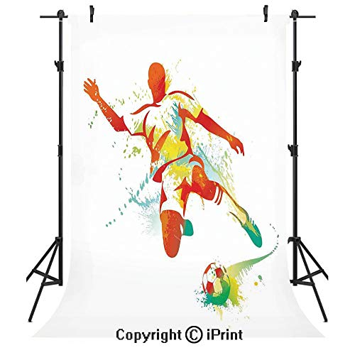 (Sports Decor Photography Backdrops,Soccer Player Kicks The Ball Competitions Paint Splashes Speed Boots Art,Birthday Party Seamless Photo Studio Booth Background Banner)