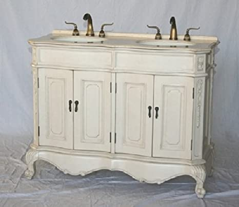 Amazon Com 50 Inch White Wood Double Sink Bathroom Vanity With Ivory Beige Cream Marble Stone Top And Sink Kitchen Dining