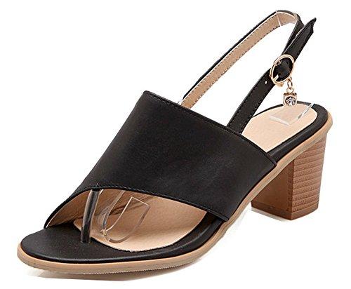 Sandales Toe Noir Femme À Fermeture Aisun Clip Boucle Mode Fantaisie dn8wznHqYx
