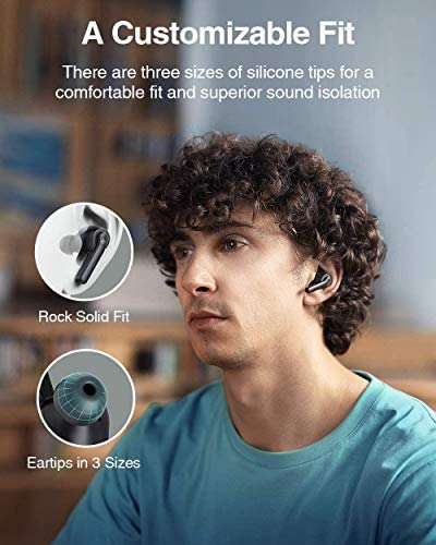 Wireless Earbuds Active Noise Cancelling, Boltune Bluetooth Earbuds with 4 Mics Noise Reduction, Enhanced Deep Bass, IPX8 Waterproof, 30Hrs ANC Earbuds, USB-C Quick Charging Case, Smart Touch Control