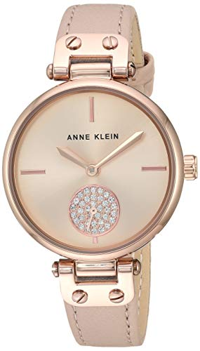 - Anne Klein Women's AK/3380RGLP Swarovski Crystal Accented Rose Gold-Tone and Blush Pink Leather Strap Watch
