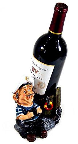 Captain Wine Bottle Holder (Captain Wine Bottle Holder Statue Nautical Kitchen Bar Decor Wine Stands & Racks Sculpture Gifts)
