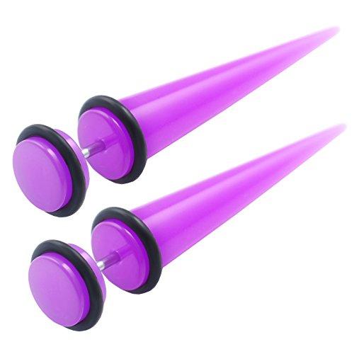 2 pcs Acrylique Fake Plugs écarteur 8mm Faux Tunnel Piercing Boucles Oreilles Joint Torique Noir FWDE