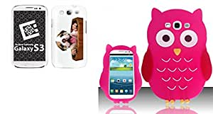 Combo pack Cellet Black Proguard with Puppy for Galaxy S 3 And For Samsung Galaxy S3 III i9300 - OWL 3D Silicon Skin Case - Hot Pink SCOWL