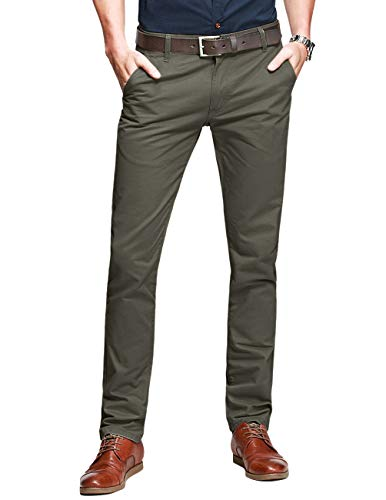 Match Mens Slim-Tapered Flat-Front Casual Pants(34W x 31L, 8134 R-Green)