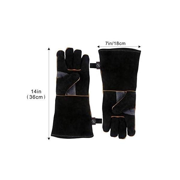 Guanti in pelle resistenti al calore estremo e resistenti al fuoco, guanti da barbecue per saldatura a manica lunga 932… 2 spesavip