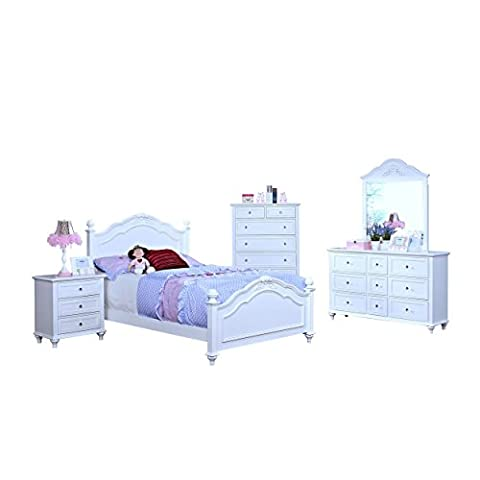 Magnolia Crown Poster 5 Piece Girl's Twin Bed, Nightstand, Dresser & Mirror, Chest in White - Bed 5 Drawers