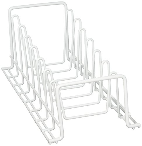 Organize It All Vinyl Coated Kitchen Wire Lid Plate Rack - White (Lid Pan Rack)