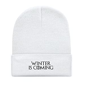 "049cc10e72c8c Game of Thrones Inspired ""Winter Is Coming"" Embroidered Fold-Over Beanie"