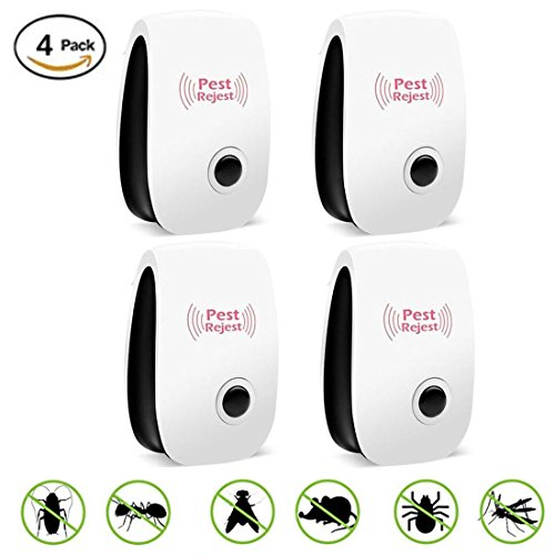 Ultrasonic Pest Repellent Control,Electronic Plug In Repeller indoor for Insects- Mosquitoes, Mice, Spiders, Ants, Rats, Roaches, Bugs, Non-toxic Eco-Friendly, Human & Pet Safe(4 PACKS) (Mouse Trap Plug In)