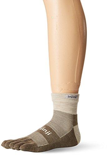 Injinji 2.0 Outdoor Midweight Mini Crew Nuwwol Socks, Oatmeal, Small