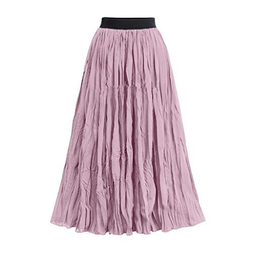 Frauen Mesh Plissee Tüll lange Röcke elastische hohe Taille eine Linie Tüllrock