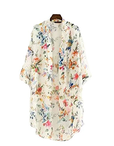 Akery Women's Floral Chiffon Kimono Cardigan Blouse Beach Cover up,Large,White by AELSON (Image #1)