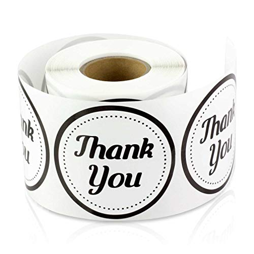 - 2 Inch Round - Thank You Gift Decorative Envelope Sealing Lables Stickers by Tuco Deals (Black/White, 2 Rolls Per Pack)