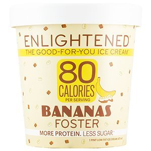 Bananas Foster Ice Cream - Enlightened - The Good For You Ice Cream, High Protein-Low Sugar-High Fiber-Low Fat, Bananas Foster, Pint (8 Count)