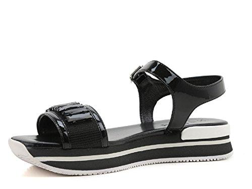 Hogan Kvinder Hxw2570u8800w0b999 Hvid / Sort Patent Læder Sandaler VSm5Y9