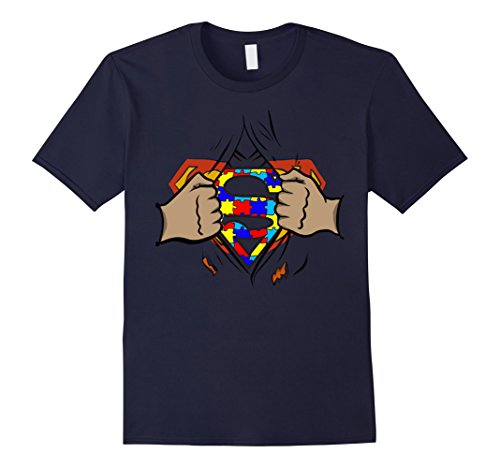Male Superhero (Men's Superhero Style T-Shirts for Autism Awareness 2017 2XL Navy)