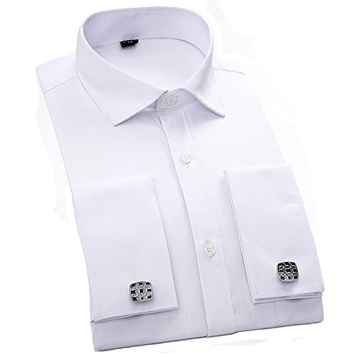Men's Shirts French Cuff Solid Regular Fit Long - Mens Cufflink Dress Shirt
