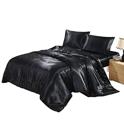 Hotel Quality Black Duvet Cover Set King Size Silk Like Satin Bedding with Hidden Zipper Ties Soft Comfortable Hypoallergenic Stain Resistant Solid Quilt / Comforter Cover Set by Lucky (Black Satin Duvet)