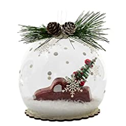 Christmas Farmhouse Home Decor BANBERRY DESIGNS Red Truck and Christmas Tree Ornament – Ball Ornament with Pine Cones and Greenery – White Snow Filled…