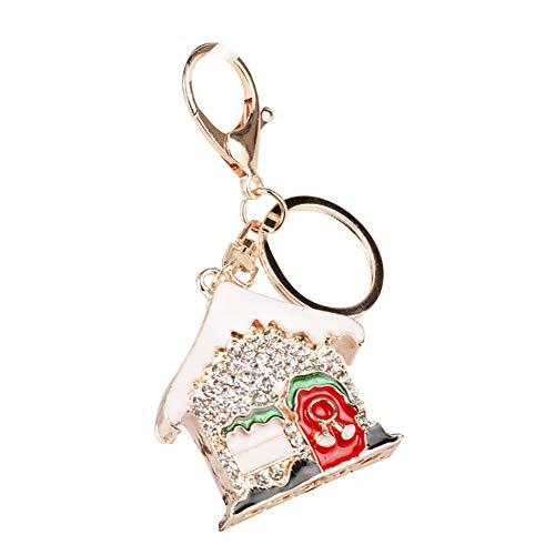 Price comparison product image Catnew Cartoon Christmas Tree Santa Claus Keychain Key Chain Ring Rhinestone Car Decor 10