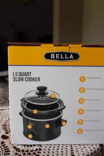 BELLA 1.5 Qt Quart Slow Cooker Crock w/Tempered Glass Lid