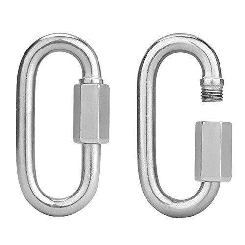AOWISH 2-Pack Stainless Steel SS Oval Locking Carabiner 3/8