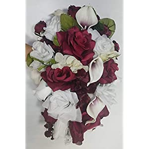 Burgundy Ivory White Rose Lily Cascading Bridal Wedding Bouquet & Boutonniere 54