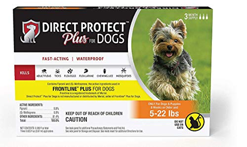 Direct Protect Plus Flea & Tick Topical Treatment for Dogs, Waterproof and Fast Acting, 3 Month Supply
