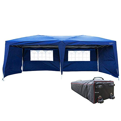 Vingli 10x20 Feet Pop Up Canopy Instant Tent 4 Removable Sidewalls Folding Ez Up Canopy Tent Patio Event Gazebo Beach Tent Uv Coated Waterproof Bonus Wheeled Carry Bag Blue