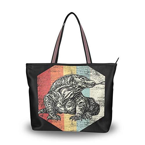 - Tote Bag with Komodo Waran Lizard Reptile Iguana Print, Shoulder Bag Handbag for Travel Shopping Picnic Beach