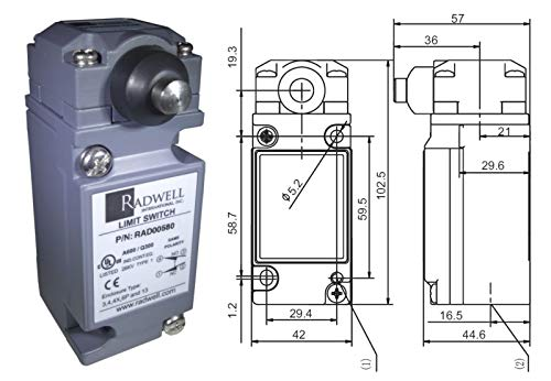 10A IP64 RADWELL VERIFIED SUBSTITUTE SZL-VL-D-SUB Limit Switch Compact 1NO//1NC Plunger