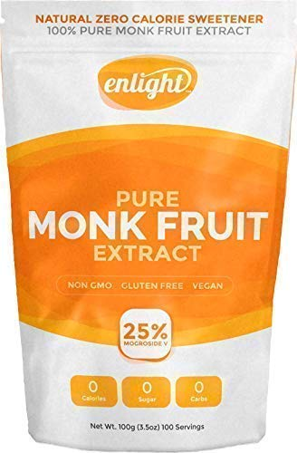 Enlight Pure Monk Fruit Extract (100g) - Natural Plant Based Paleo Sugar Free Sweetener (100% Monk Fruit, Zero Calories, Non-Glycemic, Non-GMO, Keto Approved)