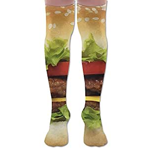 Long Dress Socks Cotton Athletic Breathable Over-the-Calf Tube Hamburger