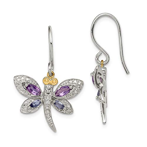 Sterling Silver & 14K Amethyst and Iolite and Diamond Dragonfly Earrings ()