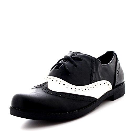 Black Brogue (Womens Vintage Flat Wing Tip Office Formal Work Designer Brogue Shoes - Black/White - US8/EU39 -)