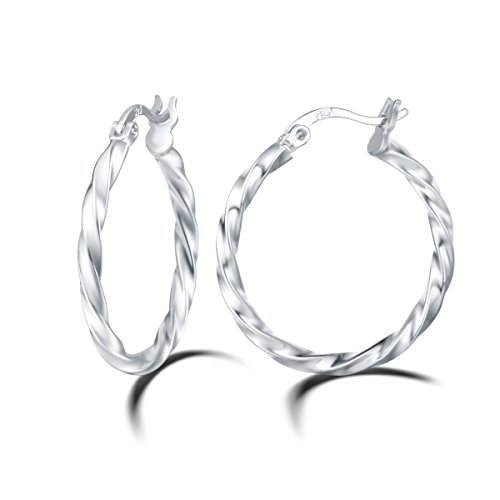 Carleen 14K White Gold Plated 925 Sterling Silver Dainty Twist Round Click-Top Hoop Earrings for Women Girls (Diameter 25mm) (Round Mm 25 Hoop)